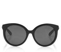 Astar Oversize Sonnenbrille in dunklem Havana mit stahlfarbenem Stern-Detail