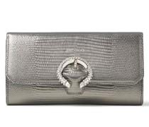 Wallet W/chain Brieftasche aus stahlfarbenem Leder mit Eidechsen-Print und Metallic-Optik