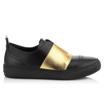 Boston Flat Sneaker aus schwarzem matten Leder und goldener elastischer Partie