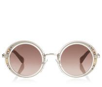 GEM Sonnenbrille mit rudem durchsichtigem Gestell und Swarovski-Kristall