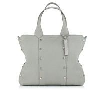Lockett Shopper Handtasche aus genarbtem grau-beigem Leder