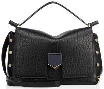 Lockett/s Handtasche aus schwarzem genarbten Leder