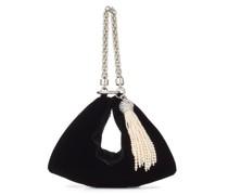 Callie Clutch aus schwarzem Samt mit Perlenquasten