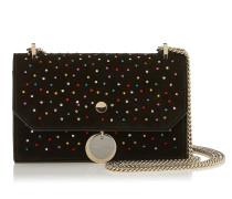Finley Kleine Tasche aus schwarzem Wildleder mit mehrfarbigem Kristall