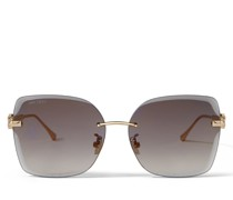 Corin Sonnenbrille aus Metall in Kupfer Rose Gold mit grau getönten Spiegelgläsern