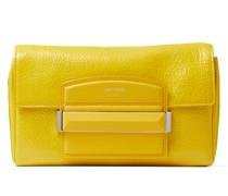Carolina/S Handtasche aus gelbem Textur-Lackleder mit Verschluss aus Leder