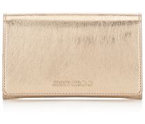 Marlie Brieftasche aus goldenem Spazzolato-Leder in Metallic-Optik