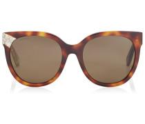 Mirta Sonnenbrille mit Cat Eye Gestell aus braunem Acetat mit Glitzerdetails