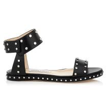 Veto Flat Sandalen aus glänzendem schwarzen Leder mit Nietendetails