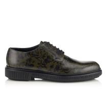 KEV Derby Schuhe mit Creeper Sohle aus waldgrünem und schwarzem Kalbsleder
