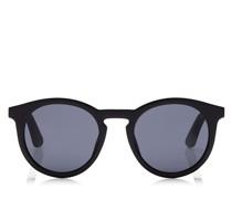 Albert Ovale Sonnenbrille mit grauen Gläsern und Bügeln aus schwarzem Acetat