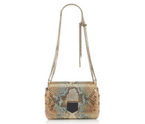 Lockett Petite Handtasche aus rosanem Leder in Metallic-Optik mit Python-Dégradé