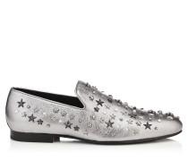 Sloane Mokassin aus silbernem Leder in Metallic-Optik mit Sternen