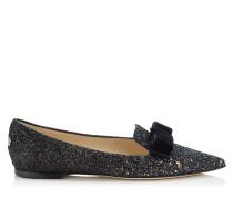 Gala Spitze flache Schuhe aus schwarzem und mehrfabigem Glitzergewebe