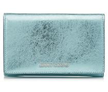 Marlie Kontinentale Brieftasche aus blauem Leder in Metallic-Optik