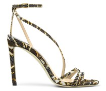 Tesca 100 Sandaletten aus ockerfarbenem Gewebe mit Schlangen-Print