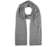 Emma Grand foulard en mélange cachemire gris perle orné de cristaux