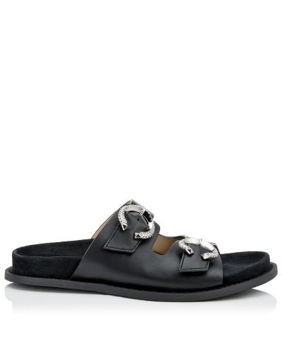 Acer Flat Sandalen aus Nappaleder in Schwarz mit kristallverzierten Schnallen