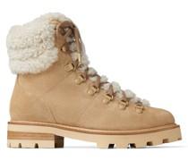 Eshe Flat Shearling Stiefel aus glattem stuckfarbenem Leder und naturfarbenem Shearling