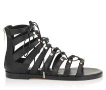 Gigi Flat Sandalen aus schwarzem Vachetteleder