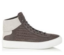 Argyle High-Top-Sneaker aus eisengrauem Nubuk-Leder mit Krokodil-Print
