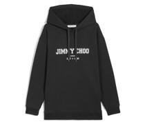 JC College-Hoodie Oversized Kapuzenpullover in Schwarz mit weißem Logo