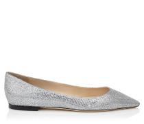 Romy Flat Spitze flache Schuhe aus silbernem Glitzergewebe