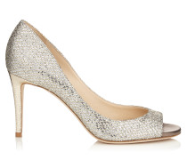 Evelyn 85 Peeptoe-Pumps aus Glitzergewebe in Champagner