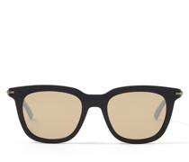 GAD Eckige Sonnenbrille aus schwarzem Acetat mit silbernen Spiegelgläsern