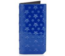 Cooper Brieftasche aus neonblauem Lackleder mit Sternrelief