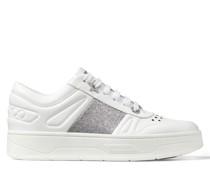 Hawaii F Sneaker aus weißem Kalbsleder mit silbernem Glitzerstreifen