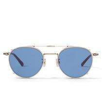 Wynn Ovale Sonnenbrille in Rose Gold mit blauen Clip-On Gläsern