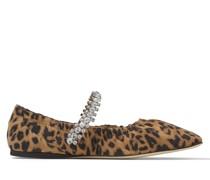 GAI Flat Ballerinas aus naturfarbenem Wildleder mit Leoparden-Print und Kristallverzierung