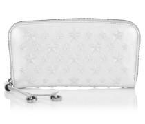 Filipa Brieftasche mit umlaufenden Reißverschluss aus weißem Nappaleder in Metallic-Optik mit Sternen
