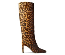 Mahesa 85 Kniehohe Stiefel aus Leder mit Fell-Print und Leopardenmotiv