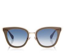Lory Cat-Eye Sonnenbrille in Blau und Gold mit Spiegelgläsern