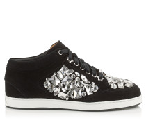 Miami Sneaker aus schwarzem Wildleder mit Kristallen