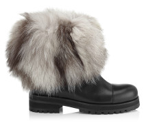 Dana Flat Stiefel aus schwarzem Leder und weißem Fuchsfell