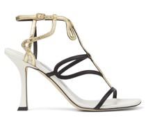 Vice 90 Sandaletten aus Nappaleder in Latte und Schwarz und Craquelé-Leder in Gold
