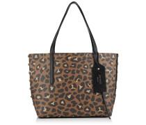 Twist East West Tragetasche aus genarbtem Leder mit Leoparden-Print
