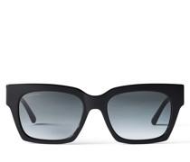JO Eckige Sonnenbrille aus Glitzer-Acetat in Schwarz mit goldenem JC Emblem
