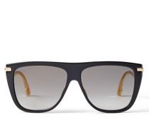 Suvi Schwarze Sonnenbrille mit goldenen Spiegelgläsern mit grauer Tönung