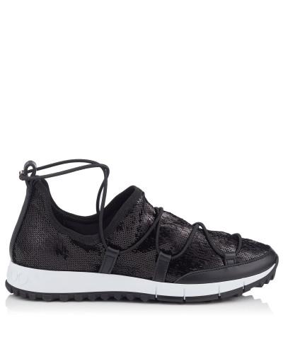 Jimmy Choo Damen Andrea Sneaker aus Stretch-Netzgewebe mit schwarzem Glitzer Niedrigster Preis Günstig Online Billig Verkauf Online Modisch Günstige Angebote s6MzE