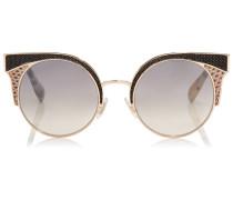 ORA Sonnenbrille mit Metall-Gestell und Schlangenlederdetails