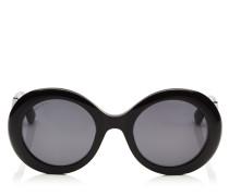 Wendy Schwarze Sonnenbrille mit rundem Gestell und Details aus Lurex