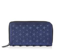 Carnaby Reisebrieftasche aus dunkelblauem Nappaleder in Metallic-Optik mit Reliefsternen