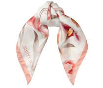 ARI Schal aus Seide mit Print in Rosa und Elfenbeinweiß