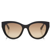 Chana Cat-Eye Sonnenbrille aus Acetat in Schwarz mit metallischen Kettendetails in Gold