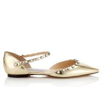 Leema Flat Flache spitze Schuhe aus goldenem Glanzleder mit Perlen