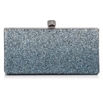 Celeste/s Clutch aus Glitzergewebe mit Dégradé in Silber und Blau mit Würfelverschlussschnalle